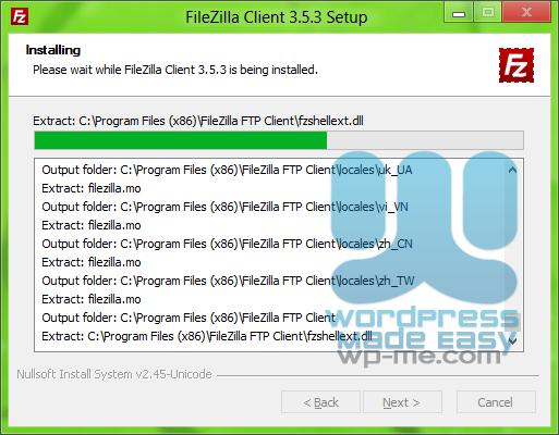 FileZilla Installer - Installing FileZilla