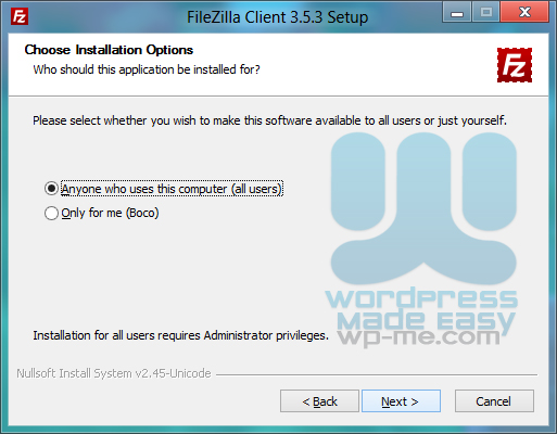 FileZilla Installer - Me or everyone