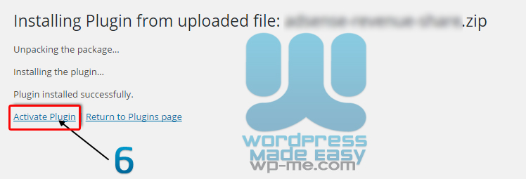Install WordPress Plugin - Activate Plugin