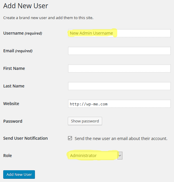 Add New User 2 - Change WordPress Admin Username from Admin Area