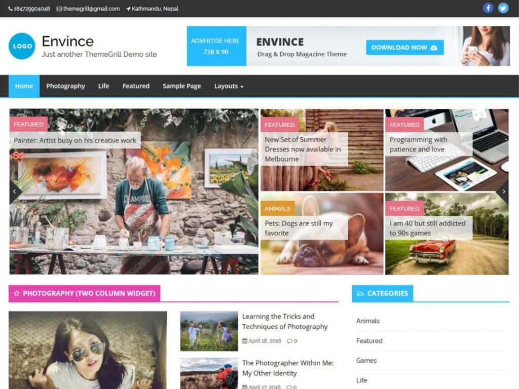 Envince Free Arabic WordPress Theme
