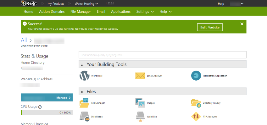 Godaddy's Hosting cPanel Homepage