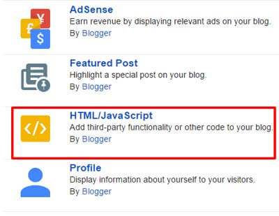 Add an HTML Gadget in Blogger