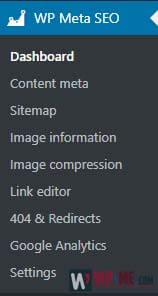 WP Meta SEO menu section