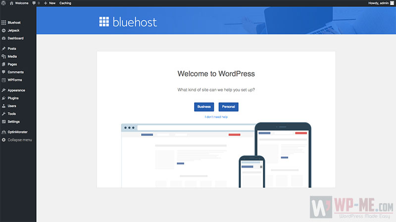 Create a WordPress blog - Bluehost WordPress Dashboard