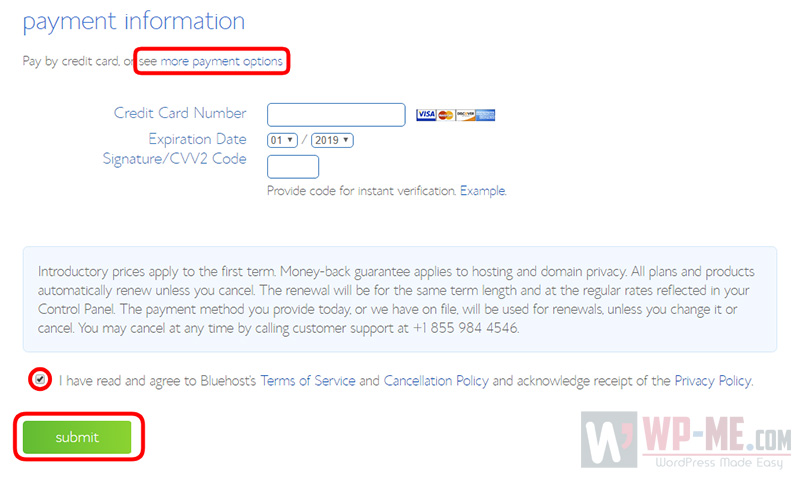 Create a blog - payment info